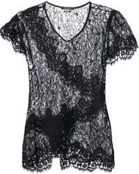 T-shirt à col rond en dentelle noir Isabel Marant