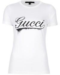 T-shirt à col rond imprimé blanc Gucci