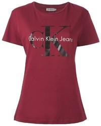 T-shirt à col rond imprimé bordeaux Calvin Klein Jeans