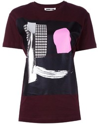 T-shirt à col rond imprimé bordeaux McQ by Alexander McQueen