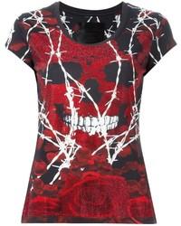 T-shirt à col rond imprimé bordeaux Philipp Plein