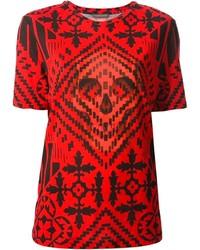 T-shirt à col rond imprimé rouge Alexander McQueen