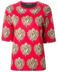 T-shirt à col rond imprimé rouge Dolce & Gabbana
