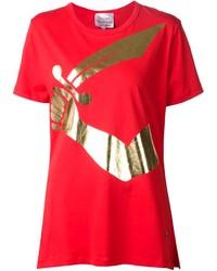 T-shirt à col rond imprimé rouge Vivienne Westwood