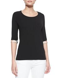 T-shirt à col rond noir Burberry