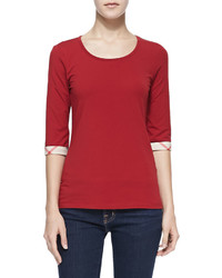 T-shirt à col rond rouge Burberry