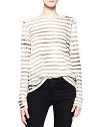 T-shirt à manche longue à rayures horizontales beige