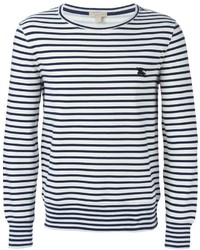 ... T-shirt à manche longue à rayures horizontales blanc et bleu marine  Burberry 3a6ca8d1b5d