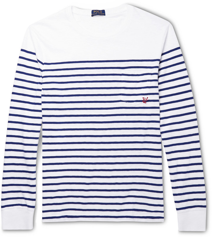 ... spain t shirt à manche longue à rayures horizontales blanc et bleu  marine polo ralph lauren 2183ecb3deb4