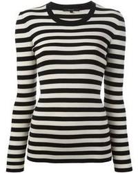 T-shirt à manche longue à rayures horizontales blanc et noir Gucci
