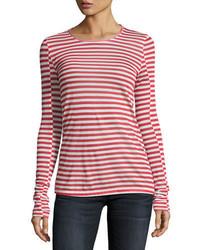 T-shirt à manche longue à rayures horizontales blanc et rouge Rag & Bone