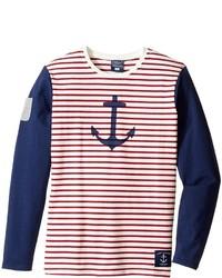 T-shirt à manche longue à rayures horizontales blanc et rouge Toobydoo