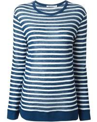 T-shirt à manche longue à rayures horizontales bleu Alexander Wang