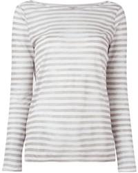 T-shirt à manche longue à rayures horizontales gris Majestic Filatures