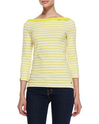 T-shirt à manche longue à rayures horizontales jaune Kate Spade