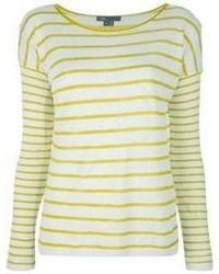 T-shirt à manche longue à rayures horizontales jaune Vince