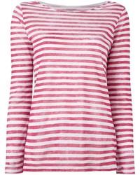 T-shirt à manche longue à rayures horizontales rouge et blanc Majestic Filatures
