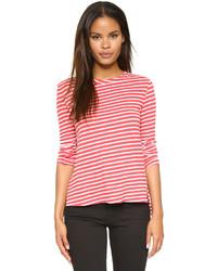 T-shirt à manche longue à rayures horizontales rouge et blanc Pam & Gela