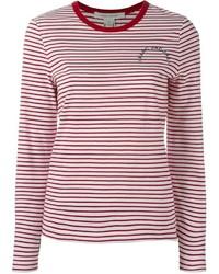 T-shirt à manche longue blanc et rouge