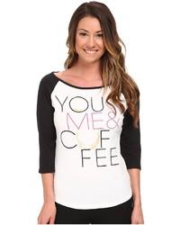 T-shirt à manche longue imprimé blanc et noir Life is Good