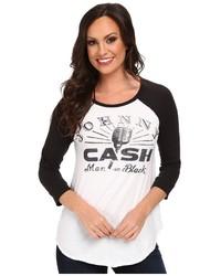 T-shirt à manche longue imprimé blanc et noir Lucky Brand