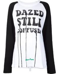 T-shirt à manche longue imprimé blanc et noir Off-White