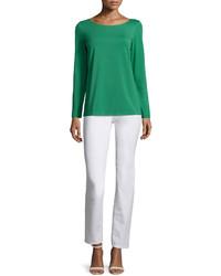T-shirt à manche longue vert Lafayette 148 New York