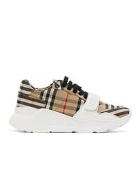 Burberry Beige Check Regis Sneakers