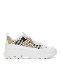 Burberry White And Beige Vintage Check Arthur Sneakers