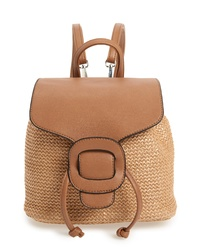 Knotty Convertible Faux Leather Straw Backpack