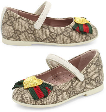 0dfc19931 ... Ballet Flats Gucci Gg Supreme Heart Mary Jane Flat Toddler Sizes 4 10  ...