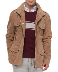 Michael Bastian Suede Army Jacket Tan Michl Bastian