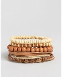 Asos Beaded Bracelet Pack In Brown