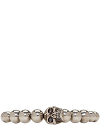 Alexander McQueen Silver Antiqued Beaded Skull Bracelet