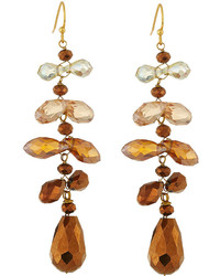 Nakamol Cascading Crystal Dangle Earrings Copper Mix