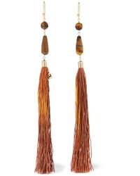 Rosantica Rum Tasseled Beaded Gold Tone Earrings Brown