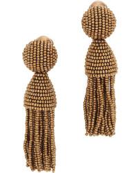 Oscar de la Renta Short Beaded Tassel Earrings