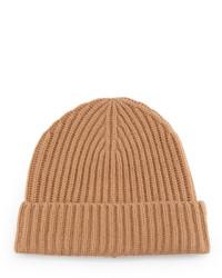 Neiman Marcus Chunky Cuffed Beanie Hat Camel