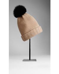Burberry Fur Pom Pom Wool Cashmere Beanie