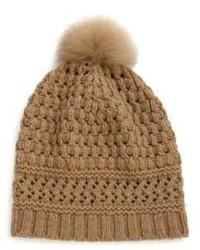 Diane von Furstenberg Knit Fox Fur Pom Pom Beanie