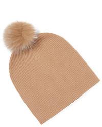 Sofia Cashmere Fox Fur Pom Slouchy Beanie