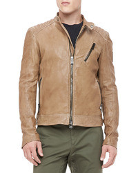 Kirkham leather biker jacket tan medium 32955