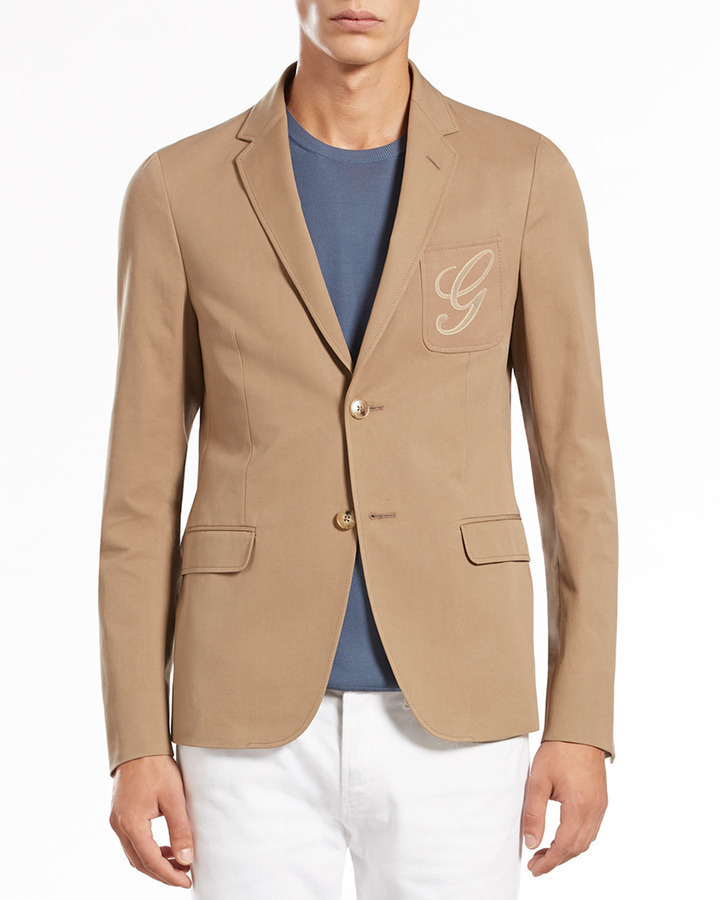 Gucci Cotton Gabardine Two Button Jacket Tan