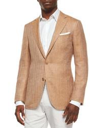 Herringbone two button wool jacket tan medium 231499