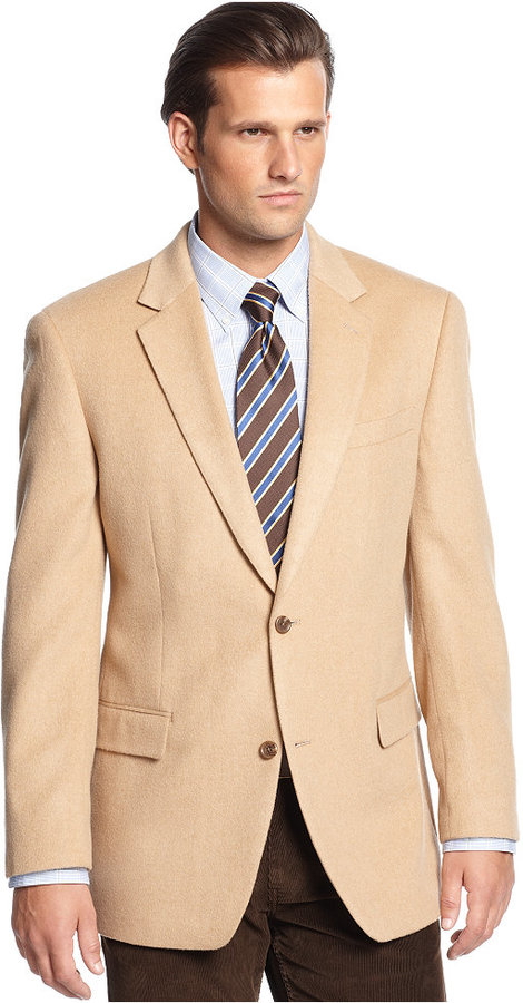 Michael Kors Michl Solid Camel Hair Sport Coat