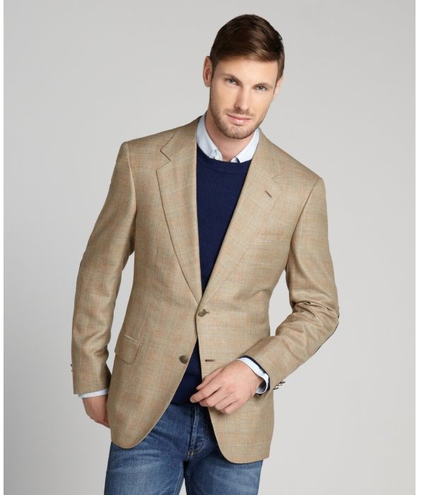 Brioni Tan Plaid Wool Two Button Jacket | Where to buy & how to wear