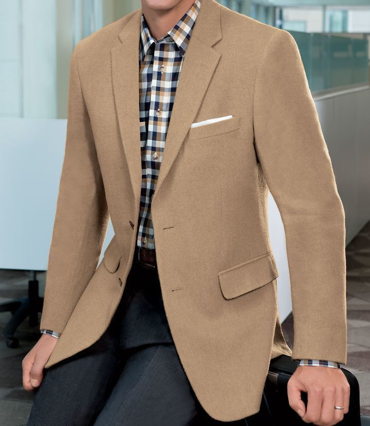 Vintage Grey Camel Hair 2 Button Jacket 46L Eecd9GHcC