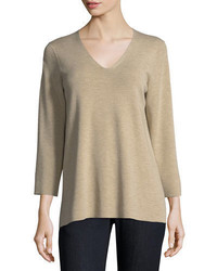 Eileen Fisher 34 Sleeve Merino V Neck Top