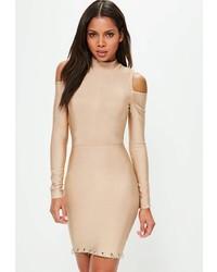 Missguided Camel Bandage Cold Shoulder Ring Detail Bodycon Dress