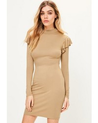 Missguided Camel Frill Shoulder High Neck Bodycon Dress